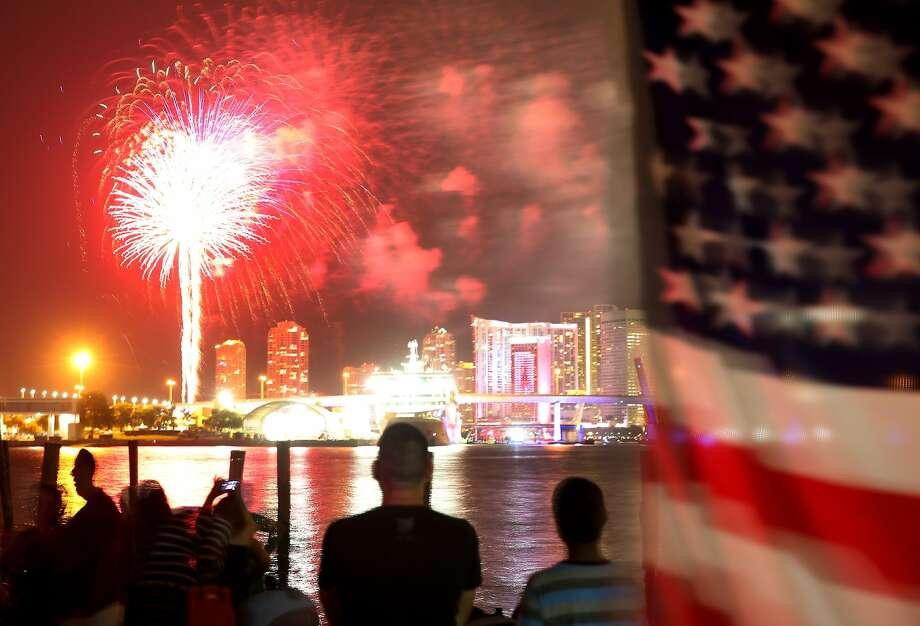 Kaboom over Miami: Spectators watch a star-spangled Fourth of July fireworks display over downtown Miami on the nation's 238th birthday. Photo: Joe Raedle, Getty Images