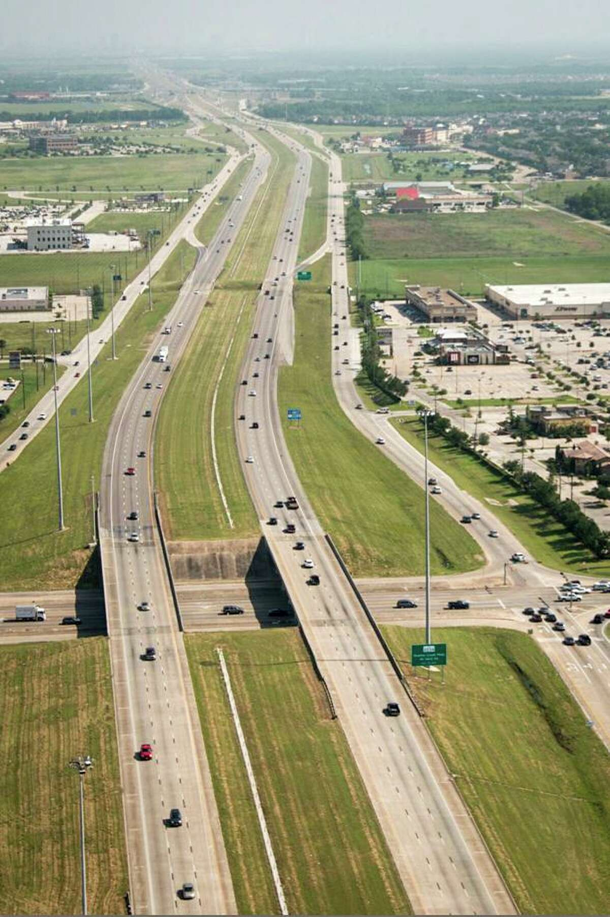 Brazoria County officials plan to add two toll lanes in each direction in the median of Texas 288, from County Road 58 north to the Harris County line. Photo is looking north along Texas 288 from Broadway in Pearland.