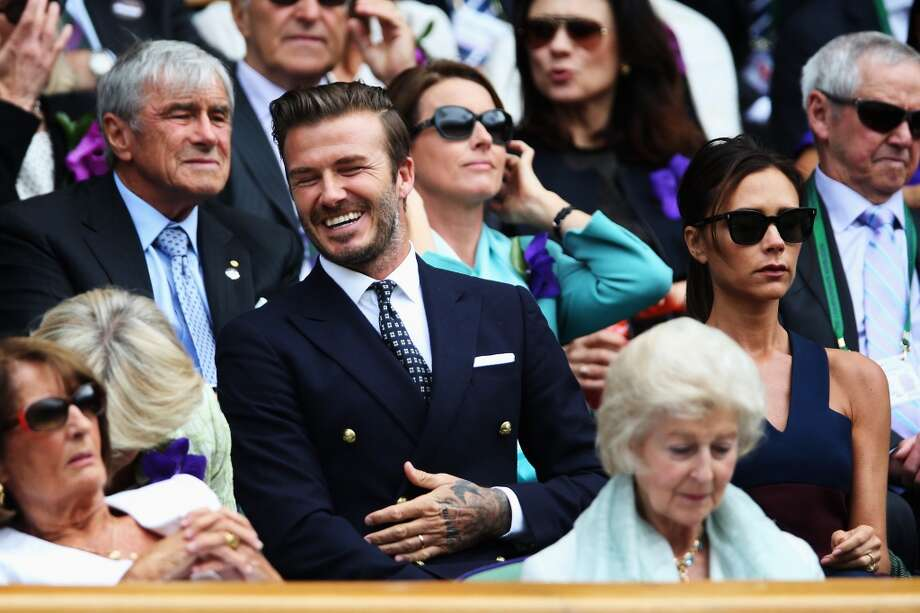 David Beckham and Victoria Beckham in the Royal Box on Centre Court at Wimbledon. Photo: Matthew Stockman, Getty Images