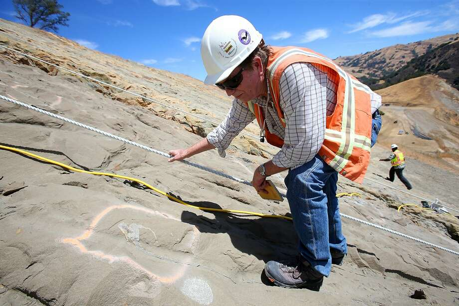 Paleontologist Bruce Hanson examines a hillside at the Calaveras Dam replacement project in Fremont. Photo: Aric Crabb, Associated Press