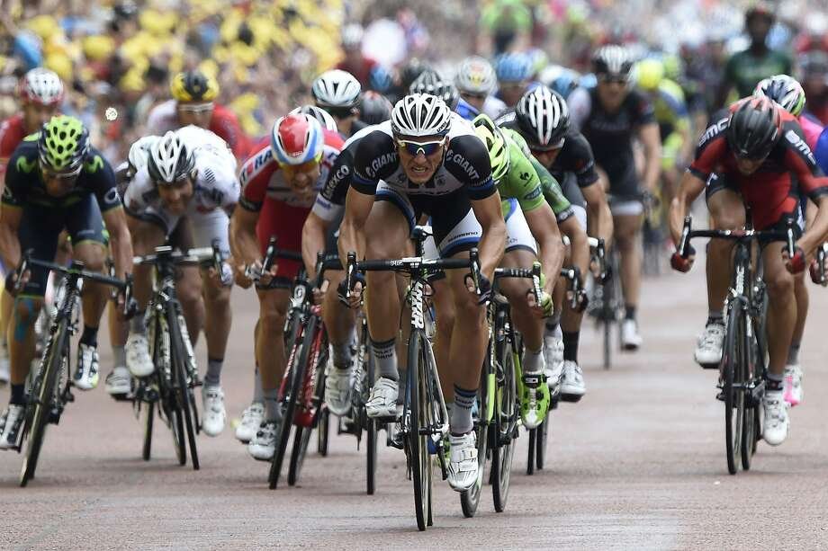 Germany's Marcel Kittel (center) won Stage 3 of the Tour de France, which ended near Buckingham Palace. Kittel also won Stage 1 of the race. Both stages were sprints. Photo: Eric Feferberg, AFP/Getty Images