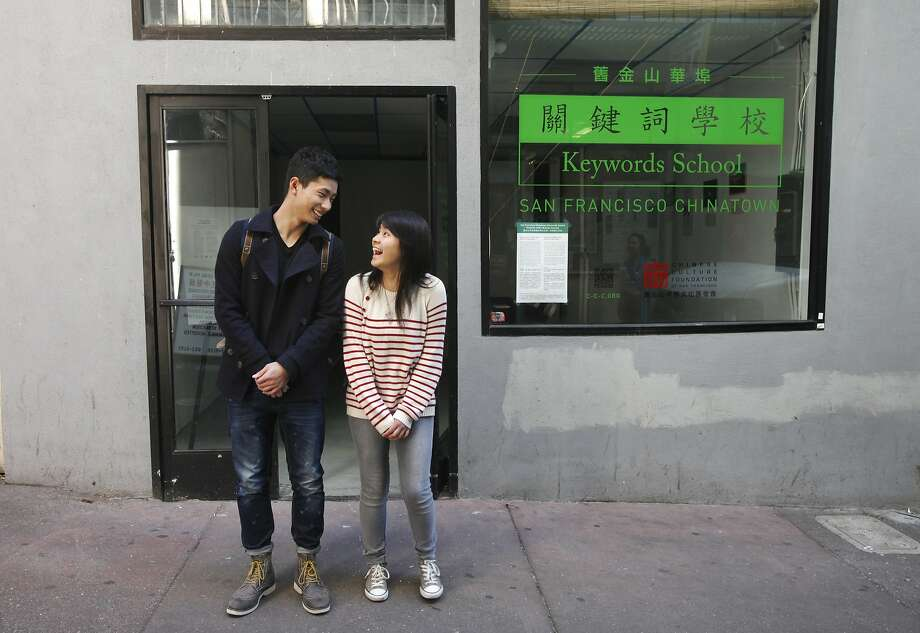 Alex Huang (left) and Lisa Yu are among the 10 student artists recruited for the San Francisco Chinatown Keywords School. Photo: Leah Millis, San Francisco Chronicle