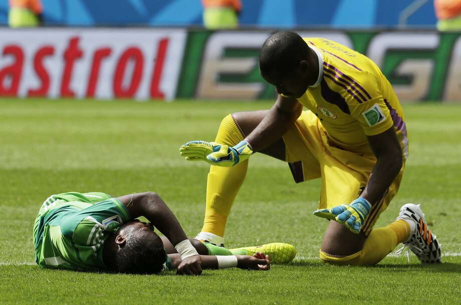 Did Nigeria goalkeeper Vincent Enyeama have cause for concern when he checked on Ogenyi Onazi during the France match?Verdict: Absolutely. Onazi was taken out by a tackle by France's Blaise Matuidi, fracturing the tibia and fibula in his left leg and ending his World Cup. Matuidi was not fined for the tackle, to the outrage of many. Photo: Petr David Josek, Associated Press