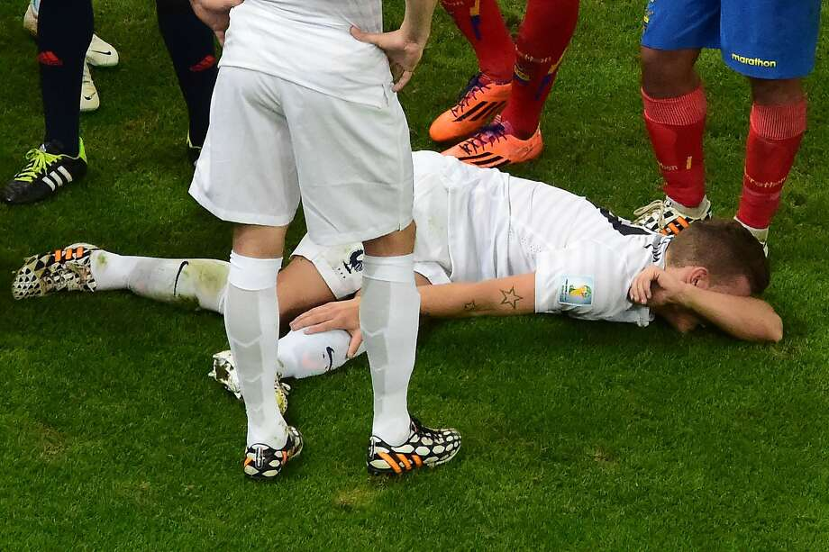 French defender Lucas Digne looks like he's moments away from amputation after being tackled by Ecuador midfielder Antonio Valencia. Was it an act?Verdict: Valencia was (rightfully so) given a red card for going cleats-up into Digne's leg, but Digne recovered and played the rest of the match.  Photo: Francois Xavier Marit, AFP/Getty Images