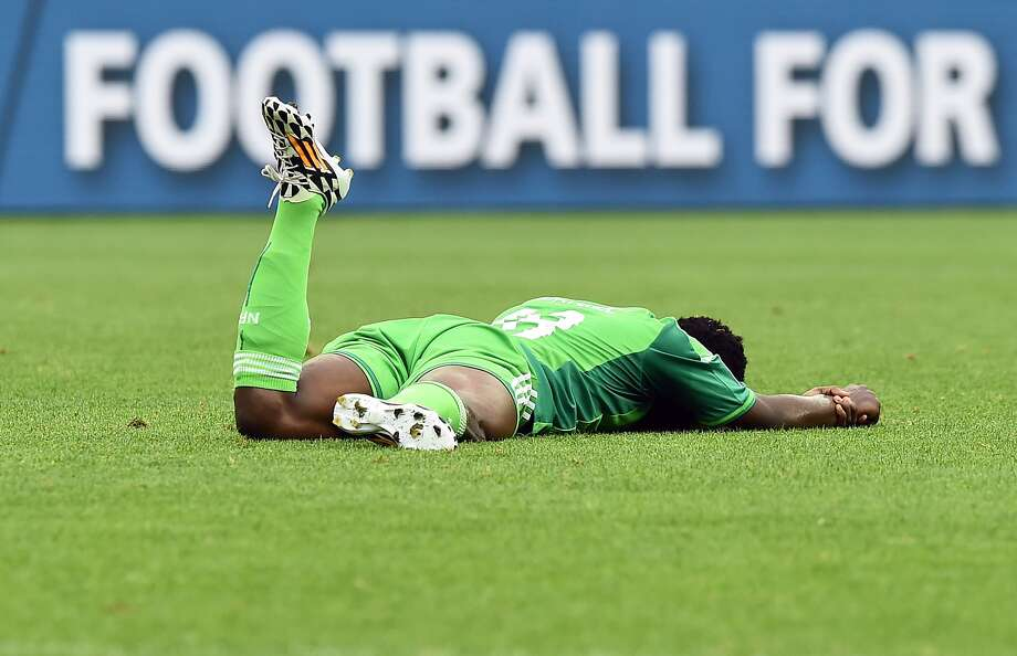 Did Nigerian forward Michael Babatunde take an awkward dive, or is he as wounded as he appears (however comically)?Verdict: Strangely, Babatunde broke his arm when he was hit by a teammate's shot on the goal. An unfortunate friendly fire incident. Photo: Jewel Samad, AFP/Getty Images