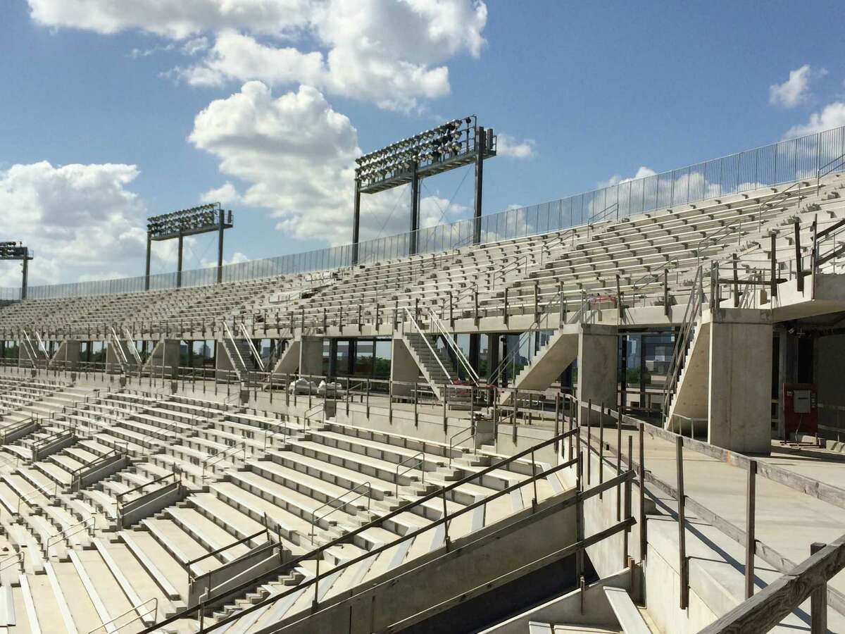 Seating on the third-iter on the north of the new UH football stadium.