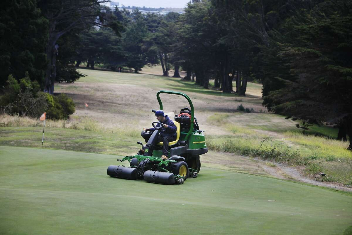 Gabriel Castillo, Gleneagles Golf Course assistant superintendent, mows the greens at Gleneagles Golf Course on Monday, July 7, 2014 in San Francisco, Calif. Areas that are watered less to conserve water and have turned brown are seen behind Castillo. Bentgrass was installed on the greens in 2010 as part of the effort to conserve water at the Gleneagles Golf Course.