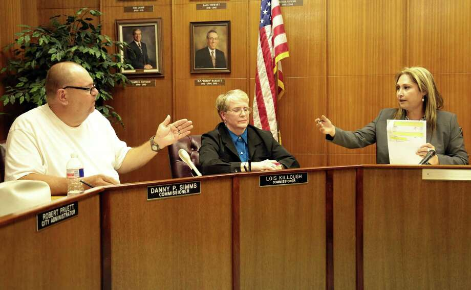 Galena Park  Commissioners Danny Simms, left, and Lois Killough battle with Moya over power during the open city meeting Monday July 7, 2014 at Galena Park City Hall. Photo: Billy Smith II, Chronicle / © 2014 Houston Chronicle