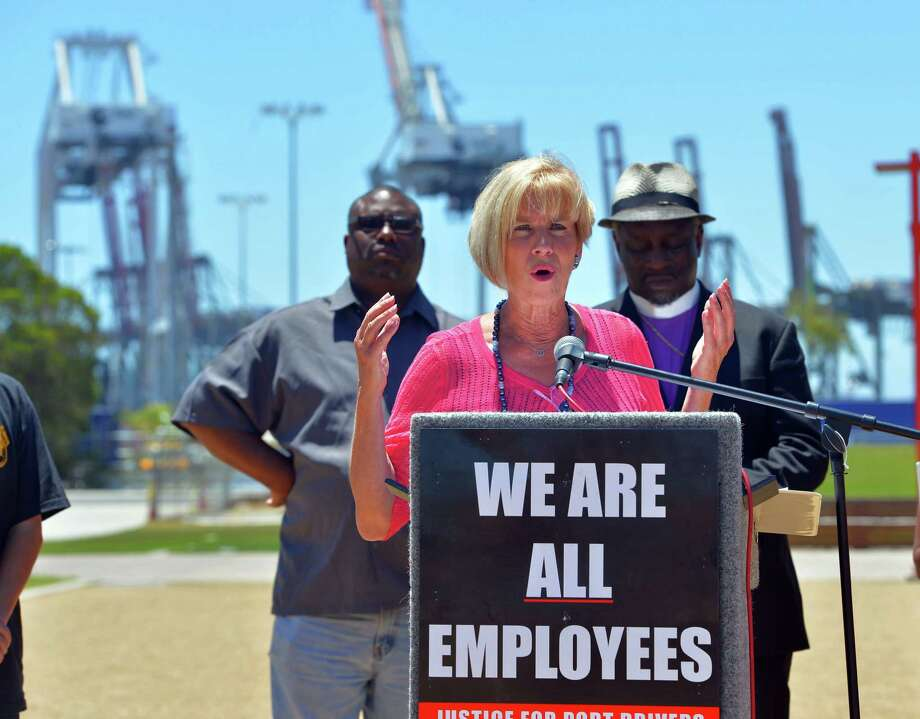 U.S. Rep. Janice Hahn, D-Calif., speaks in support of striking truck drivers in Wilmington, Calif. Photo: Scott Varley, MBR / Daily Breeze