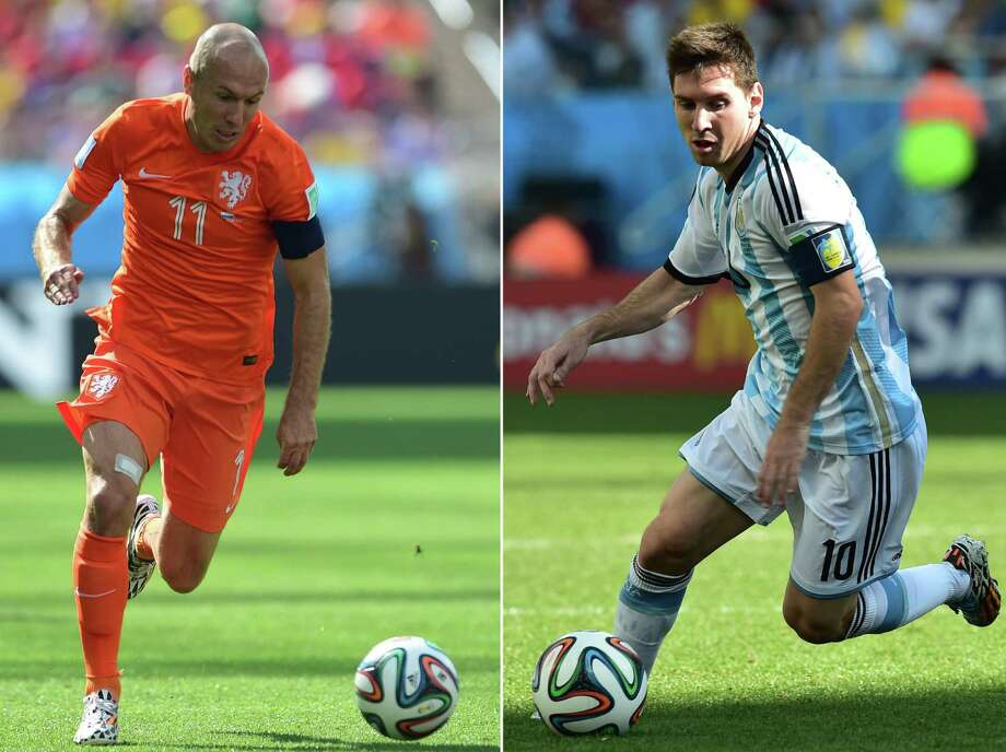 Netherlands forward Arjen Robben (left) is one of two Dutch players with three goals during this World Cup, while Argentina forward Lionel Messi contributed four goals in the group stage. Both are considered among the world's best ballhandlers. Photo: Martin Bernetti (left) And Nelson Almeida / Getty Images / MARTiN BERNETTi