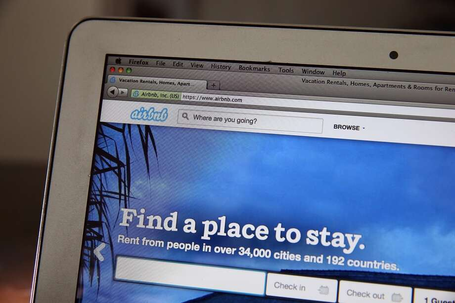 SAN ANSELMO, CA - APRIL 21:  The Airbnb website is displayed on a laptop on April 21, 2014 in San Anselmo, California. Online home-rental marketplace Airbnb Inc. is about to receive more than $450 million in investments from a group led by private-equity firm TPG. The new investments will value the startup at $10 billion, significantly higher than some publicly traded hotel chains.  (Photo Illustration by Justin Sullivan/Getty Images) Photo: Getty Images