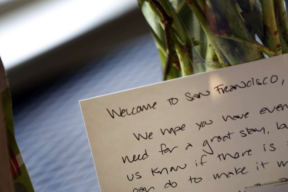 A welcome note from Beyond Stays in place before the client, Andrew Minkow, arrived at the home in San Francisco, Calif., on Thursday, February 27, 2014. Beyond Stays, is one of many full-service companies, that take over the the duties of an Airbnb host, and was greeting Airbnb guest Andrea Minkow who is renting a house in the Castro. Kitchell gave her a tour of the home, the key, a gift basket, and instructions for Minkow's stay. Photo: The Chronicle