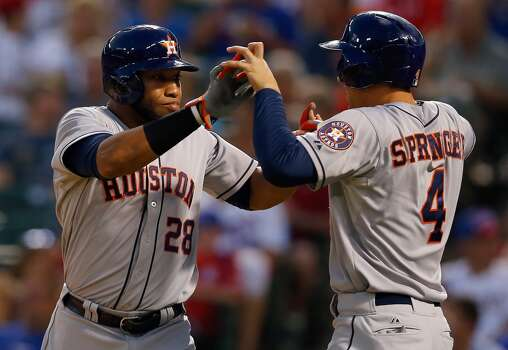 July 7: Astros 12, Rangers 7  An offensive explosion against the Rangers snapped the Astros' seven-game skid.  Record: 37-54. Photo: Tom Pennington, Getty Images