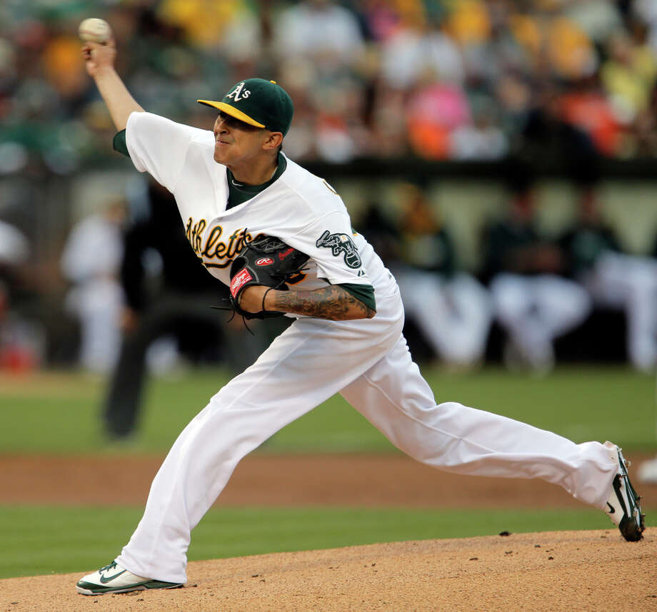 Jesse Chavez, who made 21 starts for Oakland last season, when he was 8-8 with a 3.45 ERA in 146 innings, could be in the rotation again this year. Photo: Carlos Avila Gonzalez / The Chronicle / ONLINE_YES