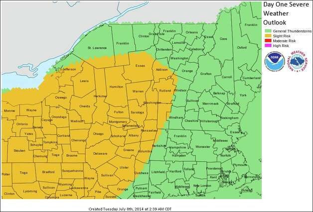 Forecast map by the National Weather Service in Albany for Tuesday, July 8, 2014. ORG XMIT: c6DoOk0U1nNUO_drhczH