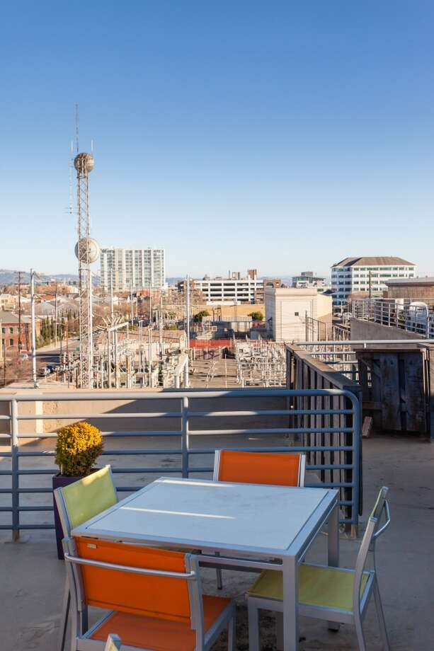The view of Jack London Square from the top-floor unit in the Phoenix Lofts. It sold for $445K in 17 days in February. Photo: Peter Lyons
