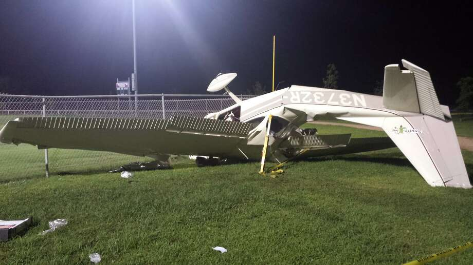 A Cessna Fixed Wing Single Engine plane piloted by Gary Johny Flynt, 48, of Baytown crashed into the at WL Jenkins Ballpark in Baytown after the aircraft apparently clipped a power line about 9 p.m. July 7, 2014. Flynt, wife Linda Sue Flynt, 44, and and 8-year-old boy were aboard at the time of the crash. THe three were taken to Memorial Hermann Hospital in Houston where they were listed in stable condition. Photo: Texas Highway Patrol
