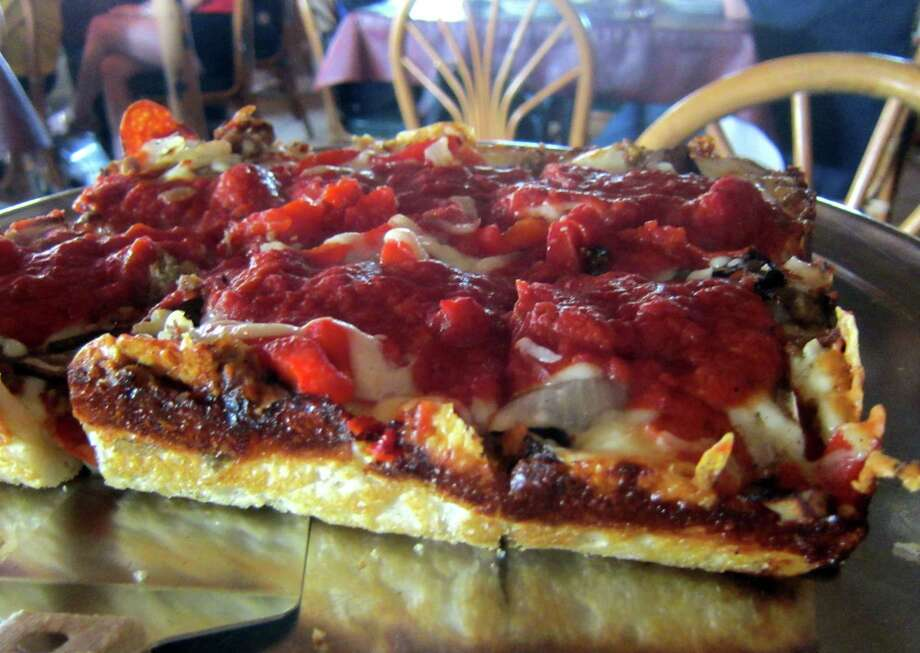 Barry's Pizza and Italian Diner is known for its Chicago-style deep dish pizza. I won't get in a debate about its authenticity, but will say the Sicilian-style pie I tried -- Heather's Firehouse -- is one great dish. Photo: Syd Kearney