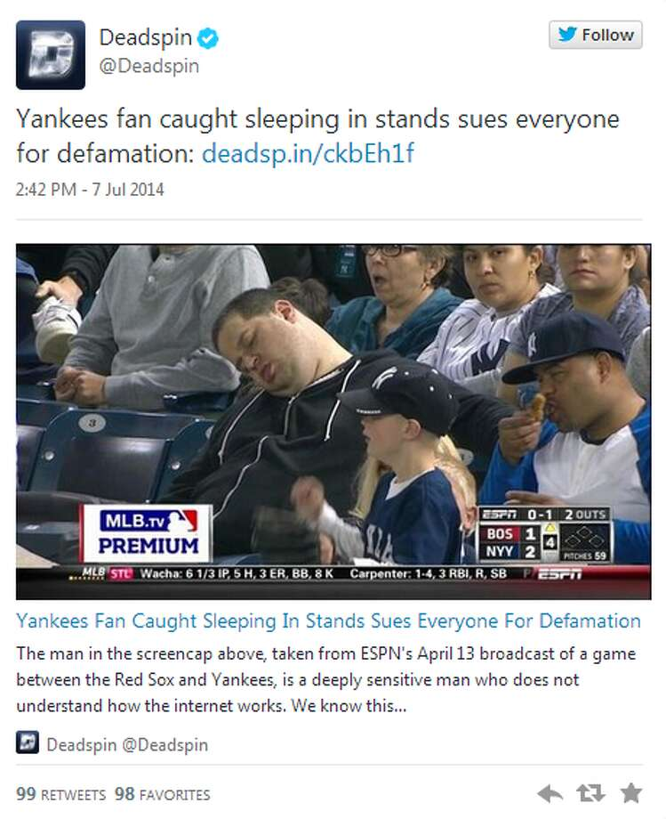 This Yankees fan has recently become an internet sensation because he was caught sleeping in the stands. Don't be the next internet star and make things worse by suing for defamation. Here is a list of how to maintain proper game etiquette.
