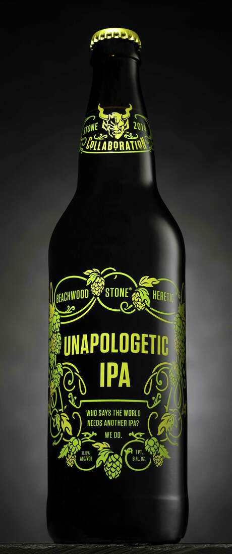 Unapologetic, a double IPA from Stone Brewing Co. (in collaboration with Beachwood BBQ and Heretic breweries), is available for a limited time. Photo: Stone Brewing Co. / © John Schulz Photography 2014.