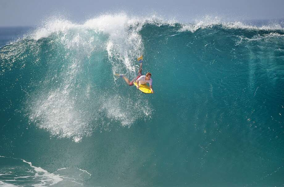Only the most daring of boogie boarders would attempt to surf a wave this size at The Wedge in Newport Beach, Calif. Photo: Mindy Schauer, Associated Press