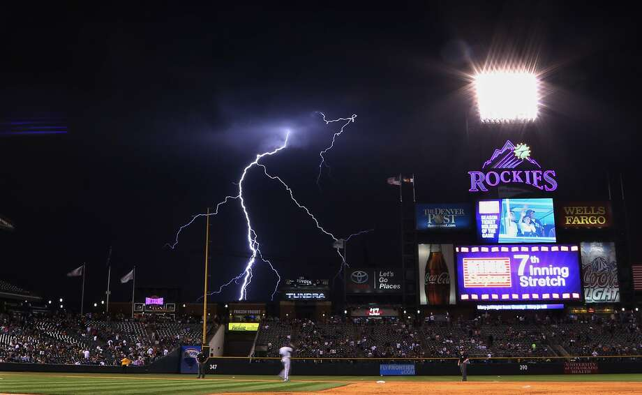 Just like in 'The Natural': Lightning strikes in the background during the seventh inning of the 
