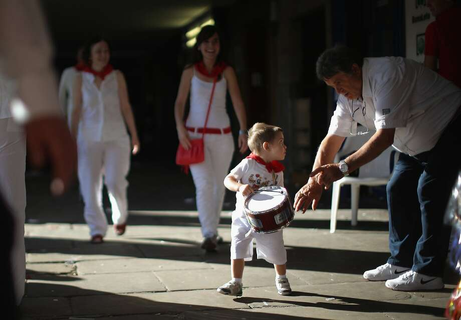 Get away from me pa rum pa pum pum:The little drummer boy of Pamplona does NOT like people touching his drum. Photo: Christopher Furlong, Getty Images