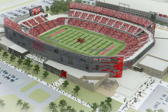 An artist rendering of TDECU Stadium, which will open in August. (Courtesy of the University of Houston)