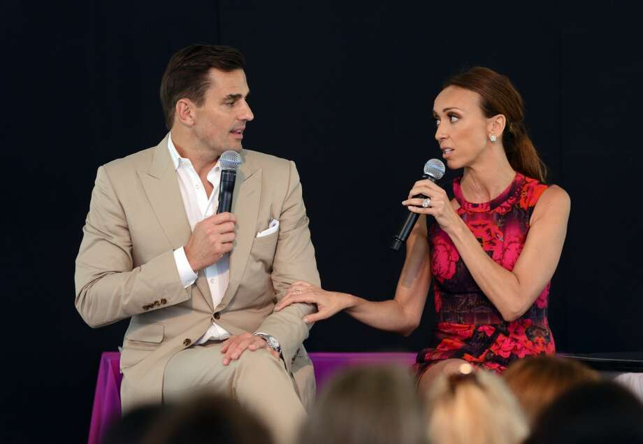 Keynote speakers Bill and Giuliana Rancic, a breast cancer survivor, share their story during the Rose of Hope luncheon Friday, June 13, 2014, at the home of Patti and Tom Keegan in Fairfield, Conn. Photo: Autumn Driscoll