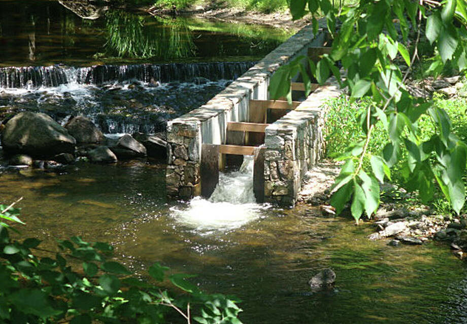 The Nature Conservancy has received approval to build a fishway on an Aspetuck River dam on property owned by actress Joanne Woodward, like this one at the Lows dam on the Saugatuck River. Photo: Contributed Photo / Westport News