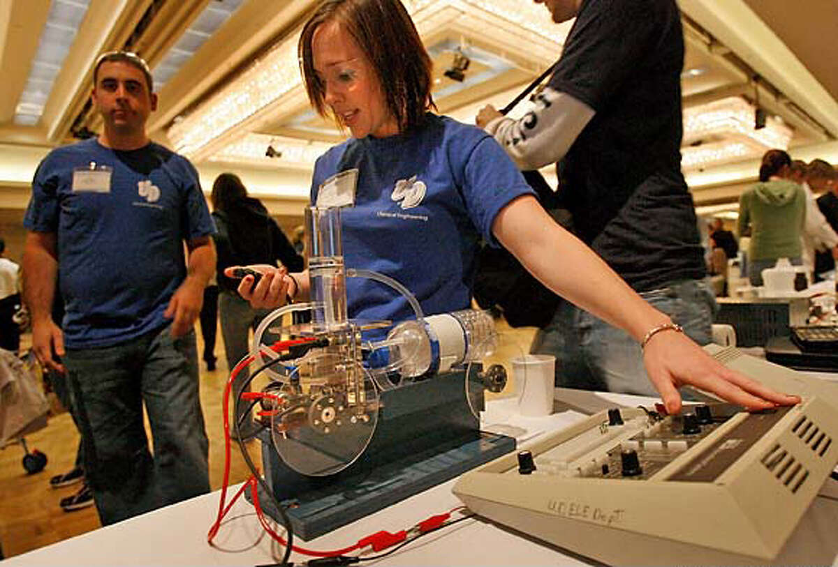 10. Dayton, Ohio : Score 48.25. Here, Gina Garcia of the University of Dayton checks her chemical reaction-driven car during the Chem-E-Car challenge on Nov. 12, 2006, in San Francisco.