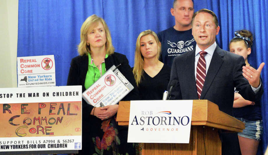 Republican gubernatorial candidate Rob Astorino joins Common Core opponents at a news conference at the LCA Pressroom in the Legislative Office Building Tuesday July 8, 2014, in Albany, NY.  (John Carl D'Annibale / Times Union) Photo: John Carl D'Annibale, Albany Times Union / 00027688A