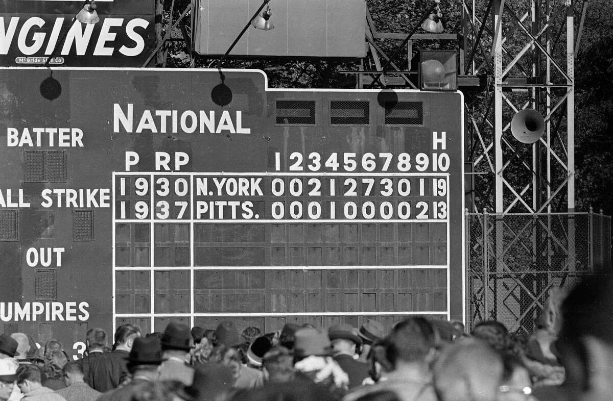 1960 World Series Game 2 After the Pittsburgh Pirates took Game 1 from the New York Yankees in a tight 6-4 affair, the second game turned into one of the most lopsided in World Series history. Yanks slugger Mickey Mantle hit two home runs and New York scored in five consecutive innings -- including a seven-run sixth -- in a 16-3 win. However, the Pirates would battle back to force a Game 7, which Bill Mazeroski won with the first World Series-clinching walk-off home run in baseball history.