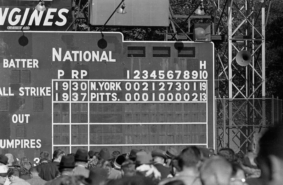 1960 World Series Game 2After the Pittsburgh Pirates took Game 1 from the New York Yankees in a tight 6-4 affair, the second game turned into one of the most lopsided in World Series history. Yanks slugger Mickey Mantle hit two home runs and New York scored in five consecutive innings -- including a seven-run sixth -- in a 16-3 win. However, the Pirates would battle back to force a Game 7, which Bill Mazeroski won with the first World Series-clinching walk-off home run in baseball history. Photo: Anonymous, AP / 1960 AP