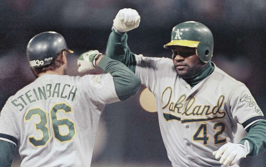 """1989 World SeriesThe 1989 """"Bay Bridge Series"""" between the Oakland Athletics and San Francisco Giants is known best for the 6.9-magnitude earthquake that hit Northern California before Game 3 and delayed the rest of the series for 10 days with the A's up 2-0. When they got back to baseball, Oakland tidily completed their dominant sweep, outscoring San Francisco by a 32-14 margin. Photo: Leonard Ignelzi, ASSOCIATED PRESS / AP1989"""