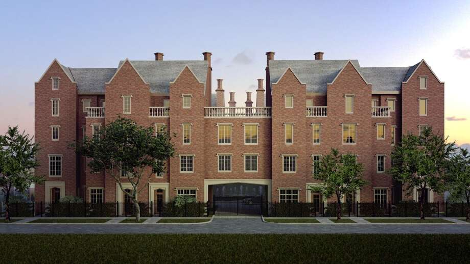 A rendering of Courtland Manor, a new townhouse project designed to look like Wroxton Abbey. Photo: Courtesy Of Croix Custom Homes