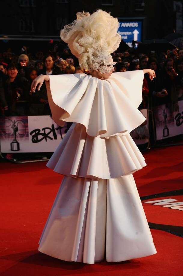 LONDON, ENGLAND - FEBRUARY 16:  Lady Gaga arrives on the red carpet for The Brit Awards 2010 at Earls Court on February 16, 2010 in London, England.  (Photo by Ian Gavan/Getty Images) *** Local Caption *** Lady Gaga Photo: Ian Gavan, Getty Images / 2010 Getty Images