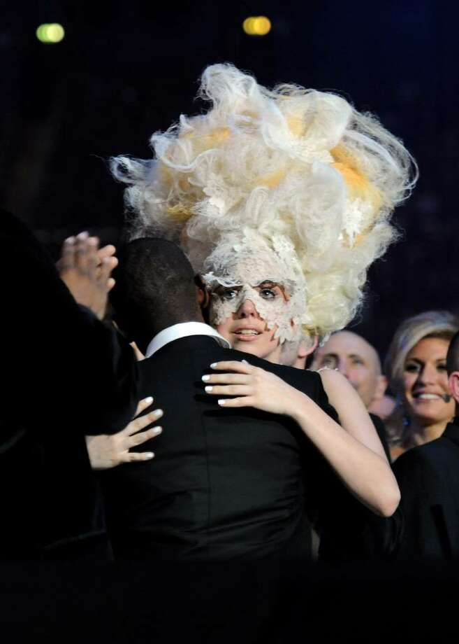 Caption:  LONDON, ENGLAND - FEBRUARY 16:  Lady Gaga accepts an award on stage at The Brit Awards 2010 at Earls Court on February 16, 2010 in London, England. (Photo by Gareth Cattermole/Getty Images) *** Local Caption *** Lady Gaga Photo: Gareth Cattermole, Getty Images / 2010 Getty Images