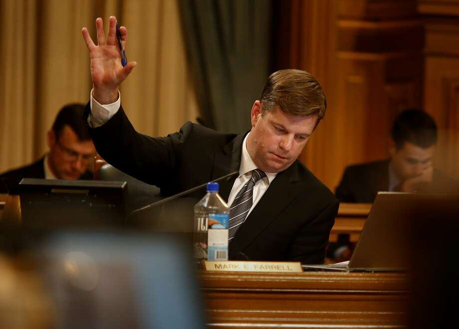 """Supervisor Mark Farrell, a strong advocate for Laura's Law raised his hand in support of an ammendment. The San Francisco Board of Supervisor's adopted """"Laura's Law"""" , which would compel people into treatment for mental health problems Tuesday July 8, 2014. Photo: Brant Ward, San Francisco Chronicle"""