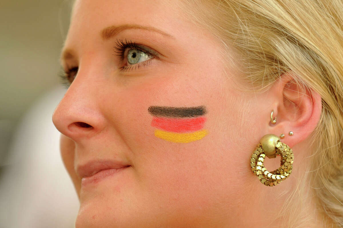 German fan Mandy Kopatz intently watches the Germany versus Brazil semifinal World Cup soccer match at Tigin Irish Pub in Stamford, Conn., on Tuesday, July 8, 2014. Germany won the match, 7-1, and will face the winner of Wednesday's Netherlands versus Argentina match.