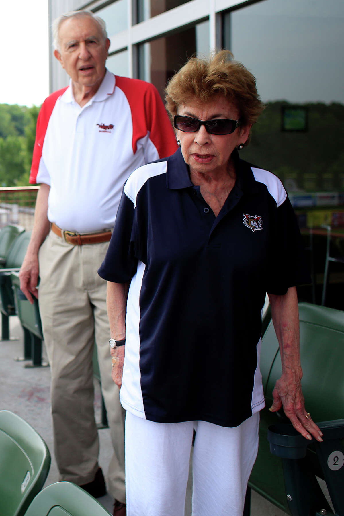 Tri-City ValleyCats owners Millie and Bill Gladstone stand for the national anthem before a game against Connecticut Tigers Tuesday, July 8, 2014, at Joseph L. Bruno Stadium in Troy, N.Y. (Tom Brenner/ Special to the Times Union)