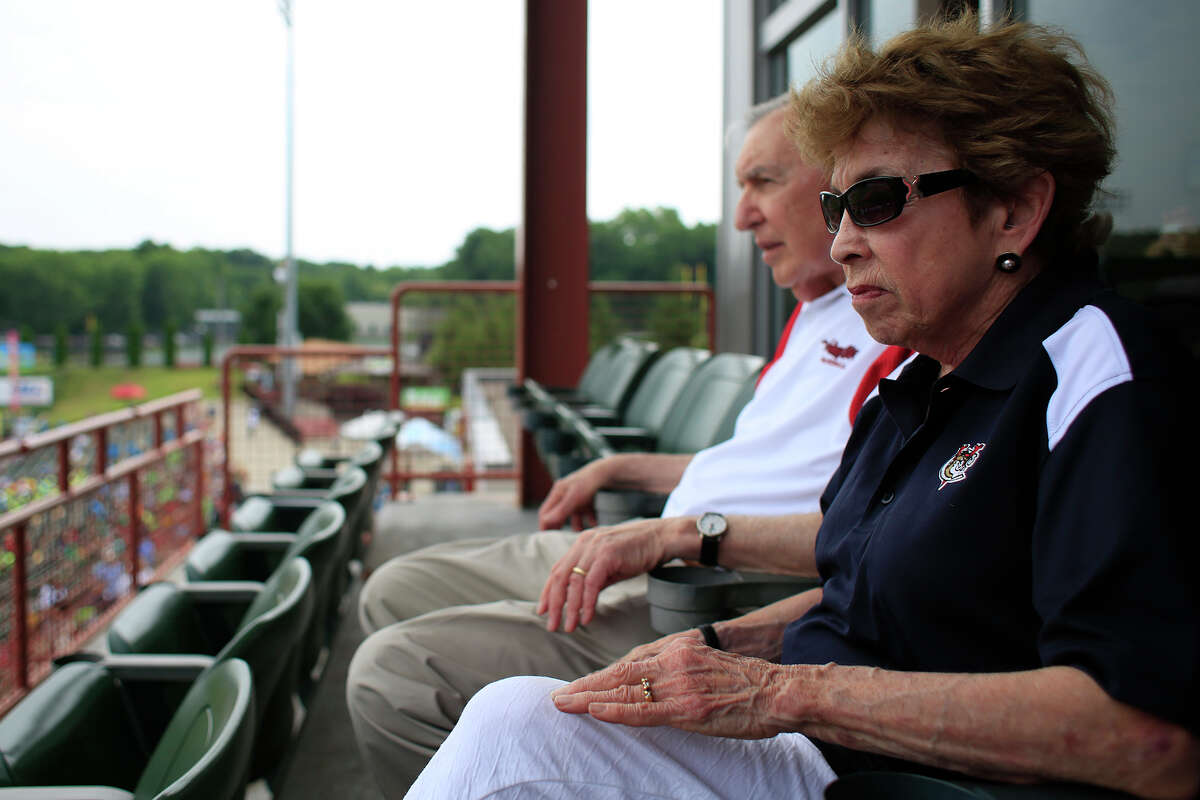 Ti-City ValleyCats owners Millie and Bill Gladstone watch players walk onto the field before a game against Connecticut Tigers Tuesday, July 8, 2014, at Joseph L. Bruno Stadium in Troy, N.Y. (Tom Brenner/ Special to the Times Union)