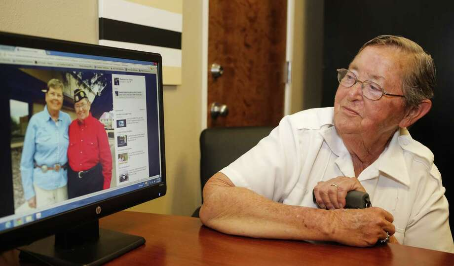 Madelynn Taylor, 74, of Boise, Idaho, married her partner, Jean Mixner (in blue on computer monitor), in 2008 in California. Mixner died in 2012. Photo: Otto Kitsinger / Associated Press / FR171002 AP