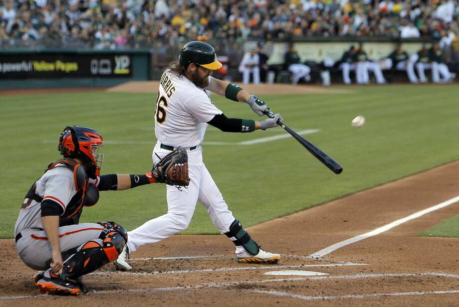 Derek Norris is part of a trio of catchers that has hit well for the A's, but only he is going to the All-Star Game, having hit .312 this season. Photo: Carlos Avila Gonzalez, The Chronicle