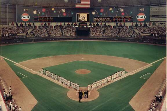 1968 All-Star Game, Houston, Tx. Astrodome.  National anthem.     HOUCHRON CAPTION (06/13/2004): A MIDSUMMER NIGHT'S DREAM: It was a magic moment when the teams lined up along the baselines for the first All-Star Game played in Texas, at the Astrodome in 1968.