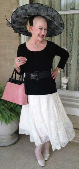 Elizabeth Neeley plays to summer's black, white and pink trend with a vintage lace skirt she