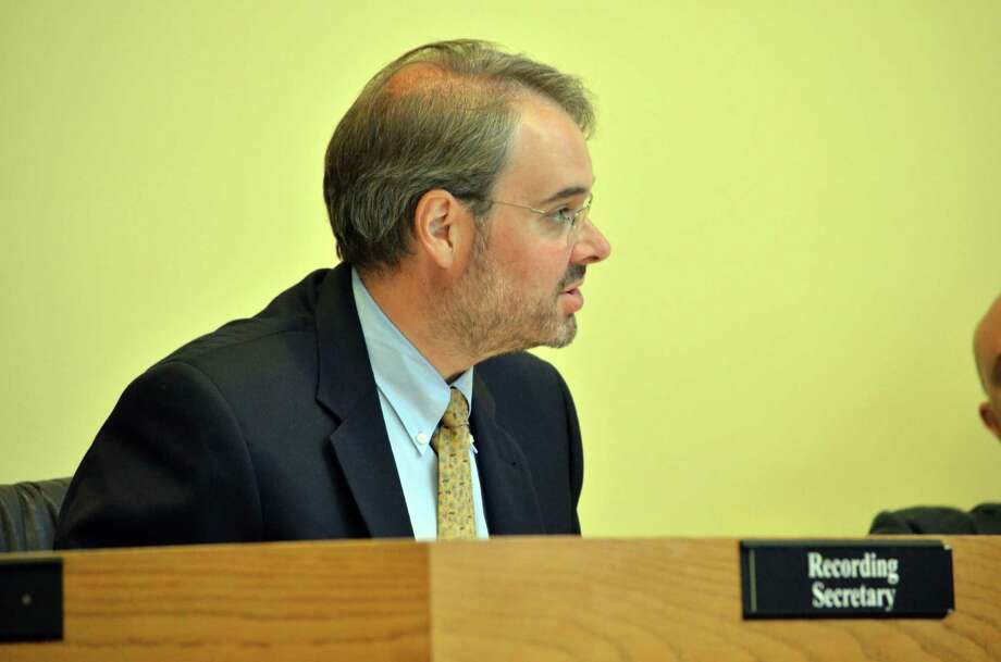 Town Administrator Karl Kilduff gave the Board of Selectmen an update about the new payment system for the town commuter parking lots on Monday, July 7. Photo: Megan Spicer / Darien News
