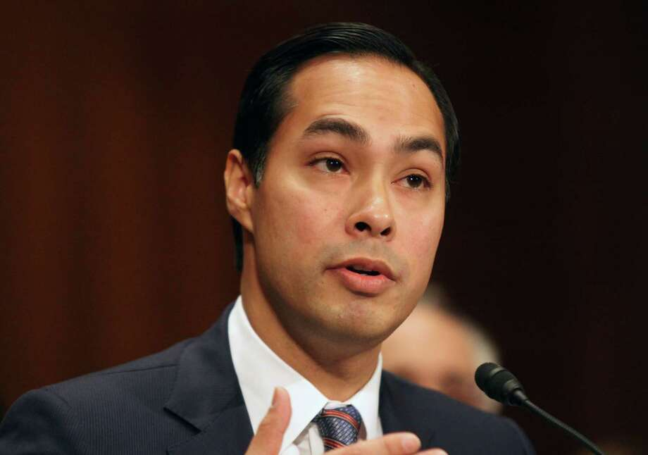 FILE - This June 17, 2014 file photo shows Housing and Urban Development Secretary nominee, San Antonio, Texas Mayor Julian Castro testifying on Capitol Hill in Washington. The Senate has easily confirmed San Antonio Mayor Julian Castro to head the Department of Housing and Urban Development. Wednesday's 71-26 vote makes the 39-year-old Castro one of the highest-ranking Hispanics in government. Photo: Lauren Victoria Burke, AP / FR132934 AP