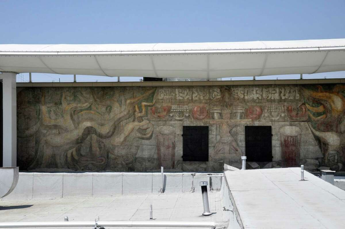 The restored Siqueiros mural, whitewashed over within a few years of its unveiling and hidden until it was restored and unveiled once again in 2012.