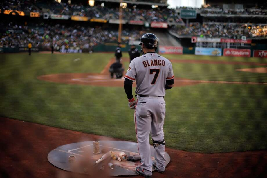 Gregor Blanco (7) prepares to lead off for the Giants as the Oakland Athletics played the San Francisco Giants on Tuesday, July 8, 2014, at O.co Coliseum in Oakland, Calif. Photo: The Chronicle